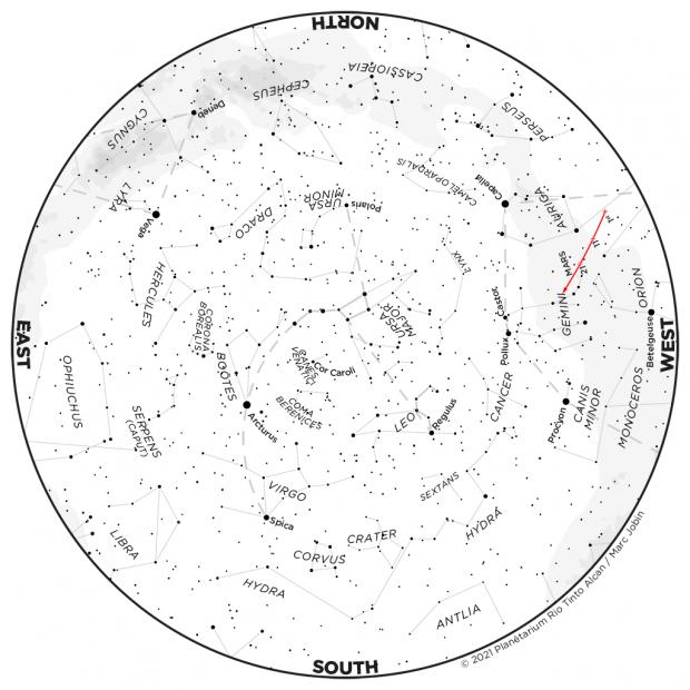 Monthly Sky map - April 2021