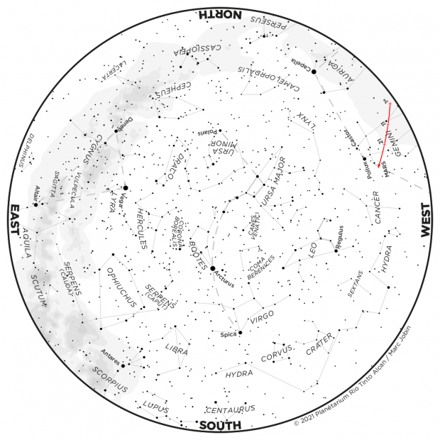Monthly Sky map - May 2021