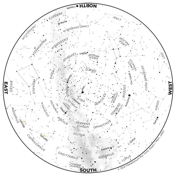 Monthly Sky map - July 2021