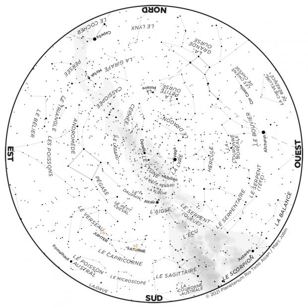 Ciel du mois - carte août 2021
