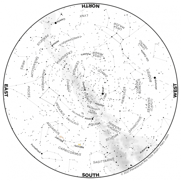 Monthly Sky map - August 2021