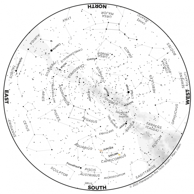 Monthly Sky map - September 2021