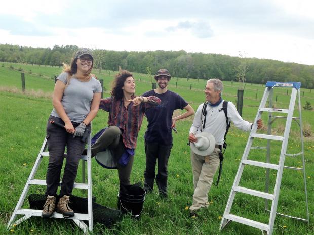 Alain Cogliastro après une journée de travail avec des étudiants à mesurer et tailler des arbres sur un site d'agroforesterie.