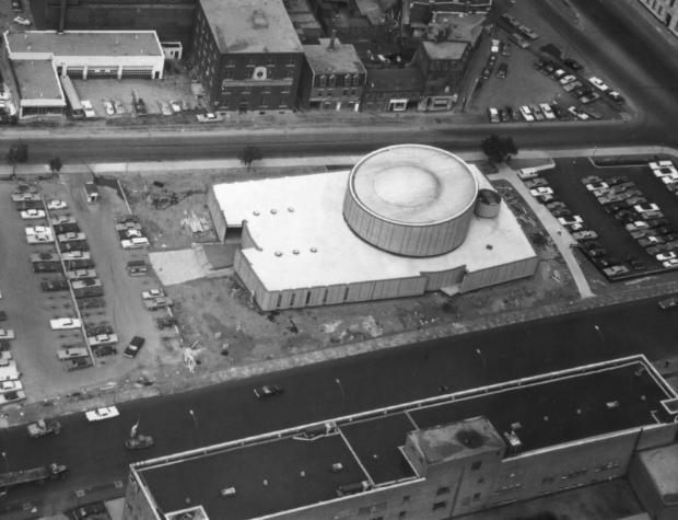Aerial view of the Montréal Planetarium.