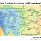 Average August fractional cloud amount at 1030 am