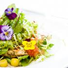 A salad prepared with edible flowers