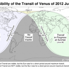 World visibility map of the 2012 June 5 transit of Venus
