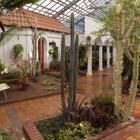 À la Hacienda des murets et des murs, percés de fenêtres, délimitent des cours intérieures.